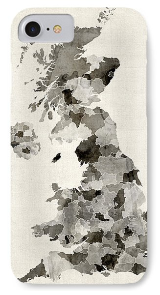 Great Britain Uk Watercolor Map IPhone Case by Michael Tompsett