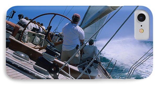 Group Of People Racing In A Sailboat IPhone Case by Panoramic Images