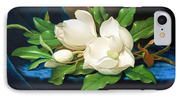 Heade's Giant Magnolias On A Blue Velvet Cloth IPhone Case by Cora Wandel