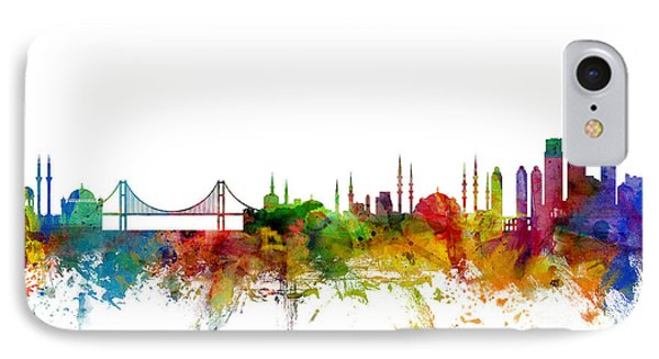 Istanbul Turkey Skyline IPhone Case by Michael Tompsett