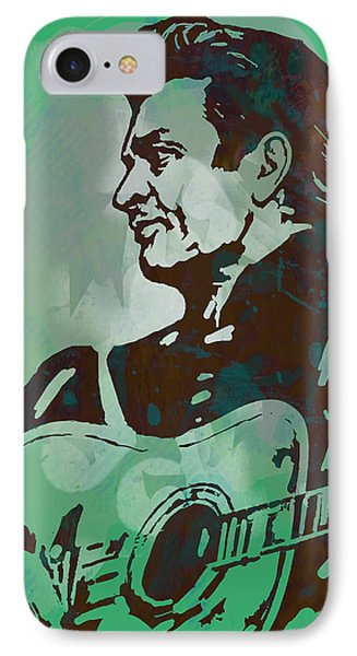 Johnny Cash - Stylised Etching Pop Art Poster IPhone Case by Kim Wang