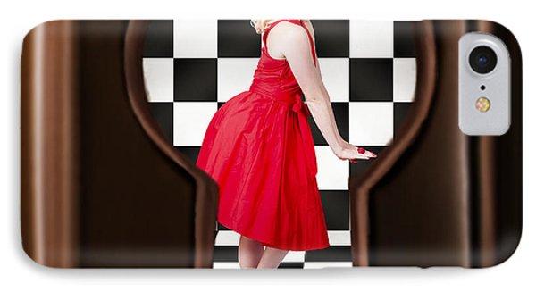 Keyhole Retro Fashion Portrait Of Stylish Girl IPhone Case by Jorgo Photography - Wall Art Gallery