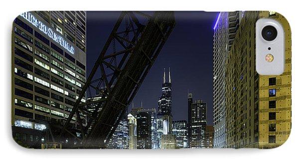 Kinzie Street Railroad Bridge At Night IPhone Case by Sebastian Musial