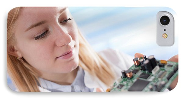 Lab Assistant Holding Circuit Board IPhone Case by Wladimir Bulgar