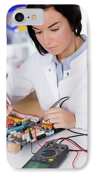 Lab Assistant Using A Circuit Board IPhone Case by Wladimir Bulgar