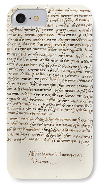 Letter Of Michelangelo IPhone Case by British Library
