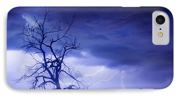 Lightning Tree Silhouette 29 IPhone Case by James BO  Insogna