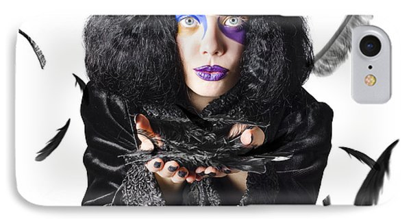 Magician Blowing Feathers IPhone Case by Jorgo Photography - Wall Art Gallery