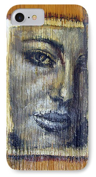 Mysterious Girl Face Portrait - Painting On The Wood Phone Case by Nenad Cerovic