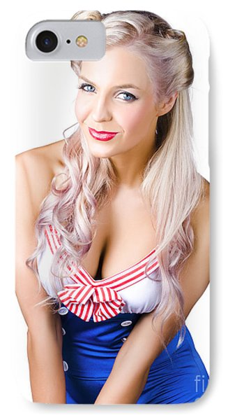 Navy Pinup Woman IPhone Case by Jorgo Photography - Wall Art Gallery