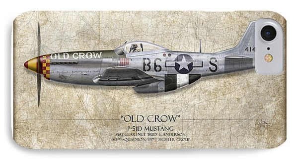 Old Crow P-51 Mustang - Map Background Phone Case by Craig Tinder