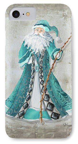 Old World Style Turquoise Aqua Teal Santa Claus Christmas Art By Megan Duncanson IPhone Case by Megan Duncanson