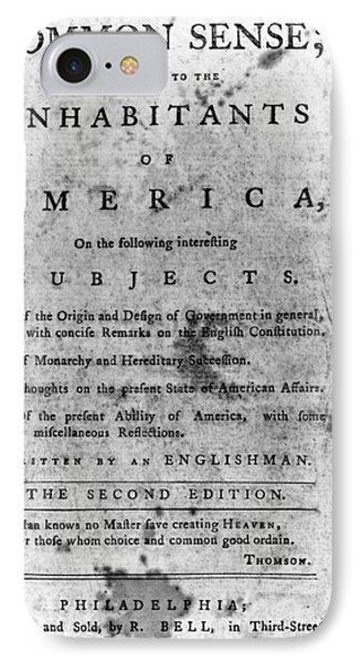 Paine: Common Sense, 1776 IPhone Case by Granger