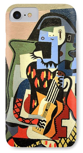 Picasso's Harlequin Musician IPhone Case by Cora Wandel