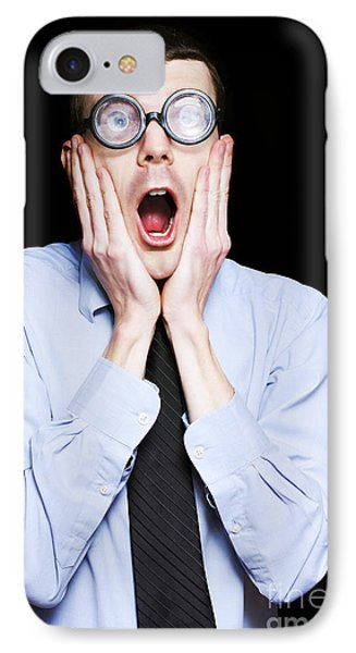 Portrait Of Astonished Accounting Businessman IPhone Case by Jorgo Photography - Wall Art Gallery