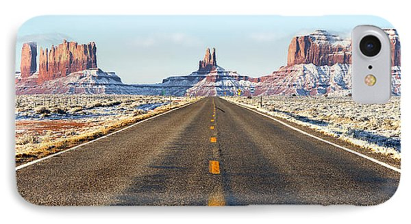 Road Lead Into Monument Valley IPhone Case by King Wu