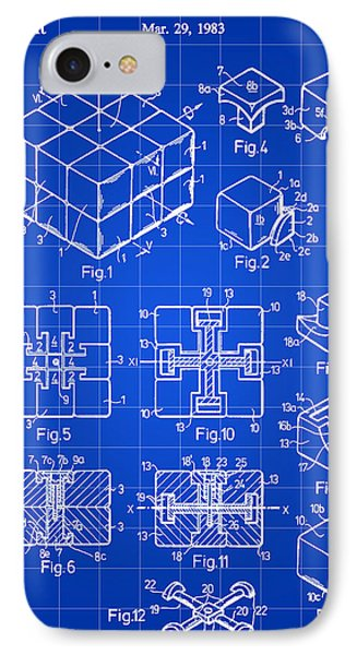 Rubik's Cube Patent 1983 - Blue IPhone Case by Stephen Younts