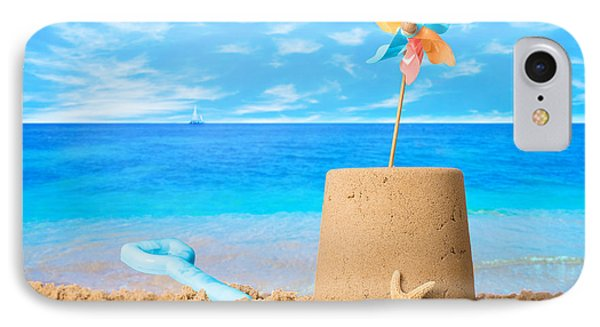 Sandcastle On Beach Phone Case by Amanda Elwell