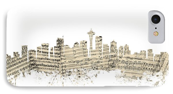 Seattle Washington Skyline Sheet Music Cityscape IPhone Case by Michael Tompsett