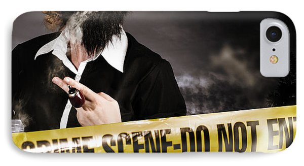 Sherlock Holmes Detective At Crime Scene IPhone Case by Jorgo Photography - Wall Art Gallery
