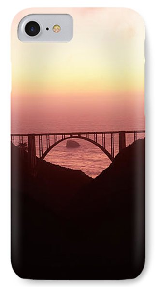 Silhouette Of A Bridge At Sunset, Bixby IPhone Case by Panoramic Images