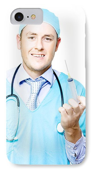 Smiling Medical Doctor With Needle And Syringe IPhone Case by Jorgo Photography - Wall Art Gallery