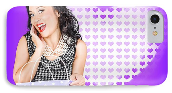 Smiling Woman With A Valentines Day Gift Bag IPhone Case by Jorgo Photography - Wall Art Gallery