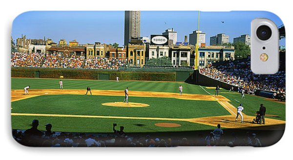 Spectators In A Stadium, Wrigley Field IPhone Case by Panoramic Images