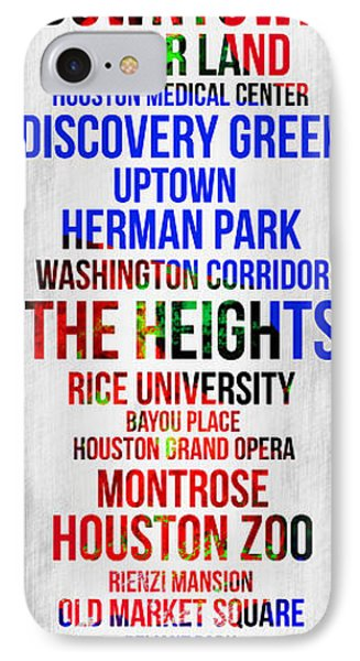 Streets Of Houston 1 IPhone Case by Naxart Studio