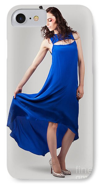 Studio Fashion Woman In Blue Dress IPhone Case by Jorgo Photography - Wall Art Gallery