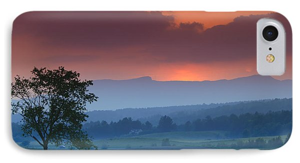 Sunset Over Mt. Mansfield In Stowe Vermont IPhone 7 Case by Don Landwehrle