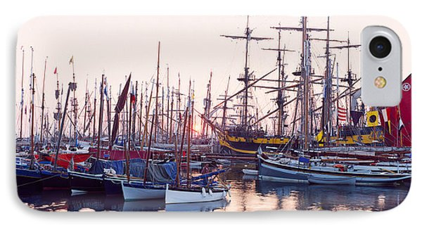 Tall Ship In Douarnenez Harbor IPhone Case by Panoramic Images