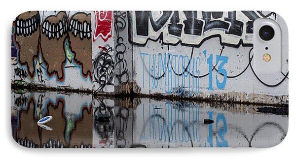 Three Skulls Graffiti Phone Case by Carol Leigh