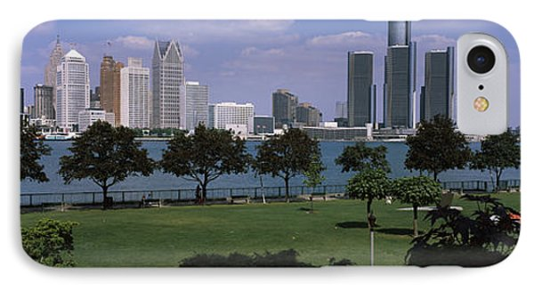 Trees In A Park With Buildings IPhone Case by Panoramic Images