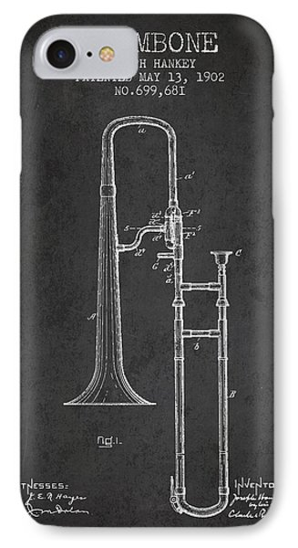Trombone Patent From 1902 - Dark IPhone 7 Case by Aged Pixel