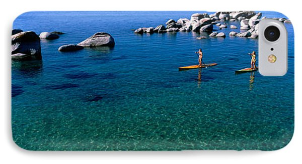 Two Women Paddle Boarding In A Lake IPhone Case by Panoramic Images
