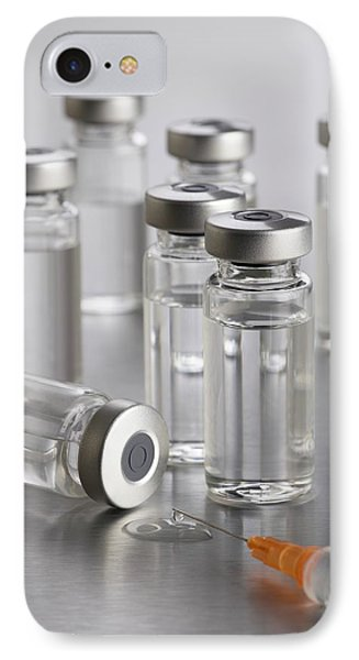 Vaccine Vials And Syringe IPhone Case by Science Photo Library