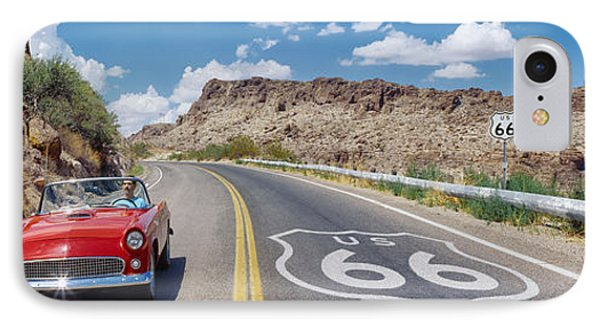 Vintage Car Moving On The Road, Route IPhone Case by Panoramic Images