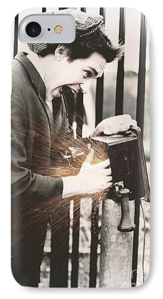 Vintage Man Getting An Electric Shock IPhone Case by Jorgo Photography - Wall Art Gallery