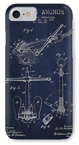Vintage Ship Anchor Patent From 1892 IPhone Case by Aged Pixel