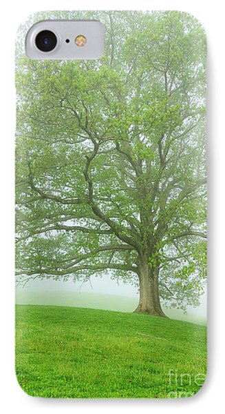 White Oak Tree In Fog Phone Case by Thomas R Fletcher