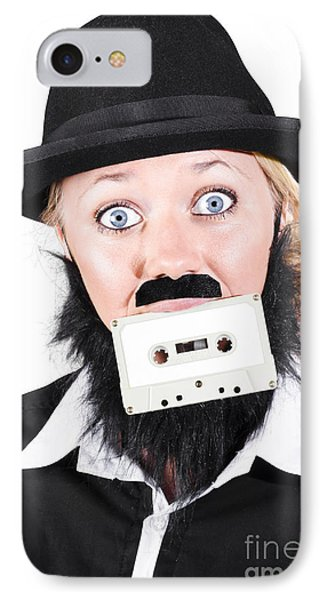 Woman In Male Costume Holding Cassette In Mouth IPhone Case by Jorgo Photography - Wall Art Gallery