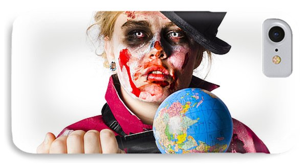 Zombie Holding Knife In Globe IPhone Case by Jorgo Photography - Wall Art Gallery