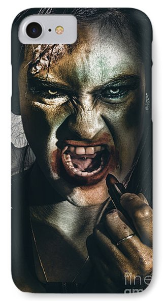 Zombie Prom Queen Woman Putting On Lipstick Makeup IPhone Case by Jorgo Photography - Wall Art Gallery
