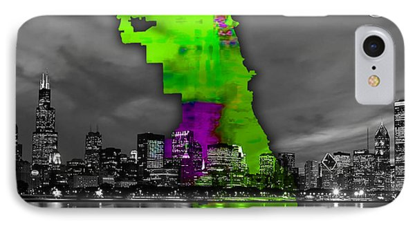 Chicago Map And Skyline Watercolor IPhone Case by Marvin Blaine