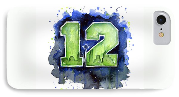 12th Man Seahawks Art Seattle Go Hawks IPhone 7 Case by Olga Shvartsur
