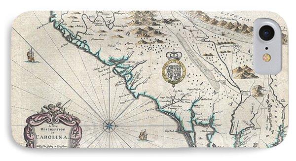 1676 John Speed Map Of Carolina Phone Case by Paul Fearn