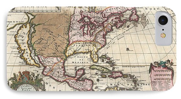 1698 Louis Hennepin Map Of North America Phone Case by Paul Fearn