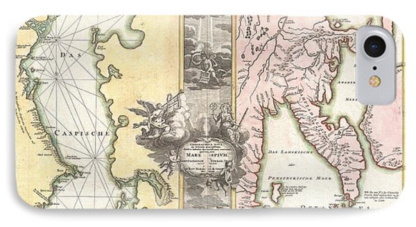 1725 Homann Map Of The Caspian Sea And Kamchatka Phone Case by Paul Fearn