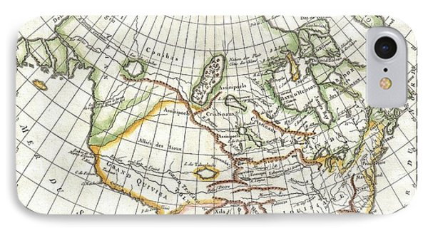 1772 Vaugondy  Diderot Map Of North America And The Northwest Passage IPhone Case by Paul Fearn